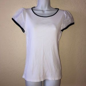 RALPH LAURE White & Navy t-shirt TOP- NEW- L